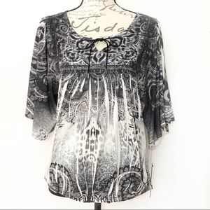 Apt9 Watercolor Boat Neck Blouse Stretch Tunic Top